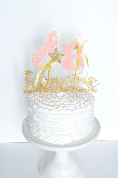 Unicorn Cake topper - Coral Yellow and Golden - Custom Cake Topper for Unicorn Party - Firstname and Age