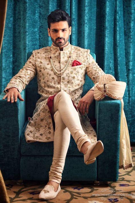 Groom Wear - The Dapper Groom! Photos, Hindu Culture, Beige Color, Groom Sherwani, Designer Groom Wear, Footwear pictures, images, WeddingPlz