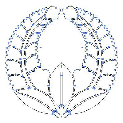 家紋 藤 の一種 丸に上がり藤 のepsフリー素材作成時のアウトライン画像 家紋 家紋 藤 フリー素材