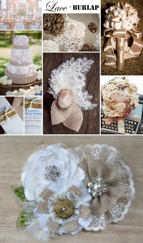 Rustic romance wedding ideas- lace and burlap.  I have an antique cameo from grandma great and I love the bottom for corsages! :)