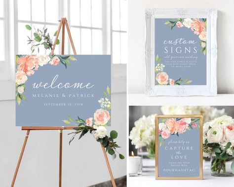 Welcome to our wedding signs Wedding Signs template Dusty Blue Wedding watercolor Floral Welco