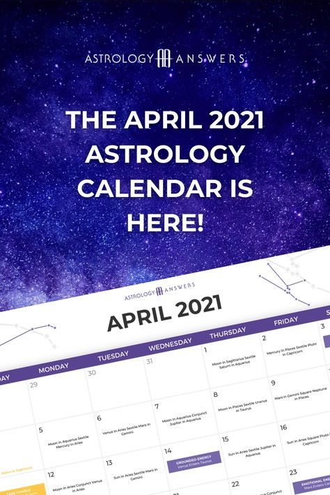 The April 2021 Astrology Calendar is here! ✨ Learn about all the important transits and energies that are happening this month in the brand new Astrology Answers Astrology Calendar.