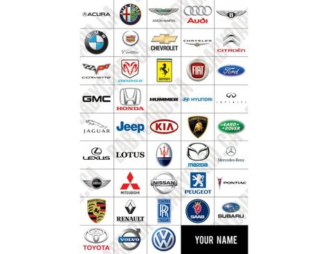 Car Brands Logos Poster Stuff To Buy Pinterest Car Brands
