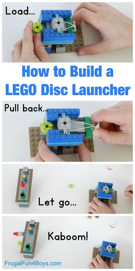 How to Build a LEGO Disc Launcher: A fun brick contraption - Frugal Fun for Boys and Girls - Lego Lego Duplo, Lego Letters, Lego Candy, Lego Challenge, Lego Club, Lego Craft, Lego Games, Lego For Kids, Lego Instructions