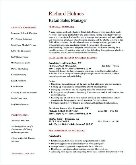 Retail Store Manager Resume , Store Manager Resume , In the process