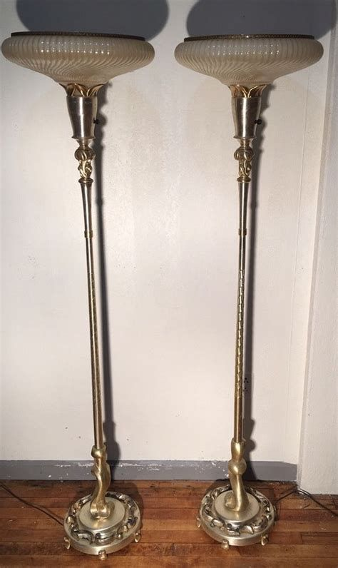 Pair Of Gorgeous Antique Art Deco Torchiere Floor Lamps Ebay Torchiere Floor Lamp Floor Lamp Metal Lighting