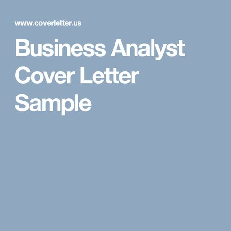 Business Analyst Cover Letter Sample Career Pinterest Cover - letter of support sample