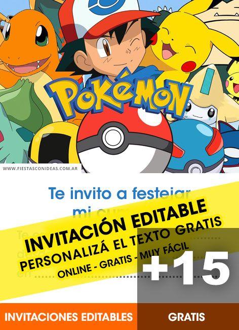 15 Invitaciones De Pokemon Pokemon Go Pikachu Gratis Para