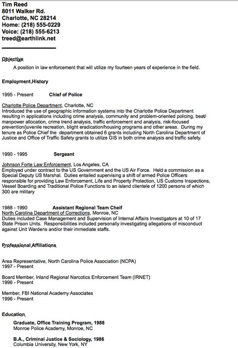 Example of Chief Police Resume -    resumesdesign example - police resume