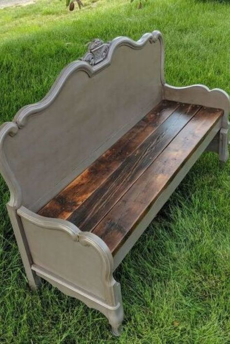 How to Make a Bench from a Headboard DIY Repurposing Check out this thrift store headboard and footboard repurosing idea as a farmhouse bench! this upcycling project is fun and perfect if you're decorating on a budget. Headboard Benches, Diy Headboards, Headboard And Footboard, Benches From Headboards, Farmhouse Bench, Farmhouse Decor, Farmhouse Ideas, Farmhouse Design, Farmhouse Furniture