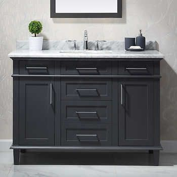 Ove Comtesse 48 In Bathroom Vanity In Dark Grey With Carrara
