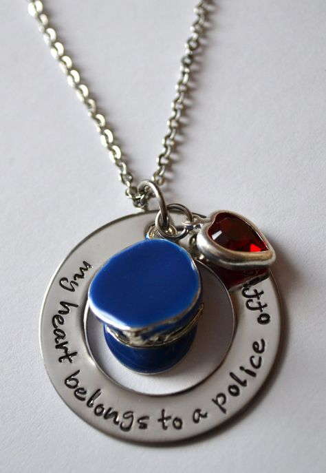 Police Officers Wife Necklace My Heart By Lauriginaldesigns