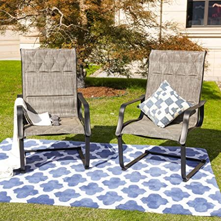 Top Space Patio Spring Chair Outdoor Porch Sling Dinning Chair Furniture Set Of 2 With Arms Grey In 2020 Outdoor Chair Set Patio Rocking Chairs Outdoor Chairs