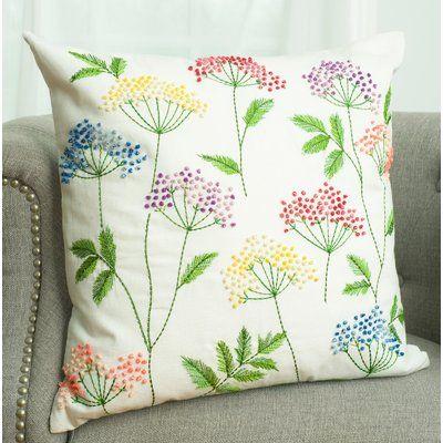 August Grove Temescal Bright Floral Decorative Cotton Throw Pillow Wayfair Cushion Embroidery Hand Embroidery Patterns Pillow Embroidery