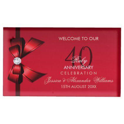 Posh Gem Bow Ribbon 40th Wedding Anniversary Place Card Holder Zazzle Com 40th Wedding Anniversary Wedding Table Card Holder Place Card Holders