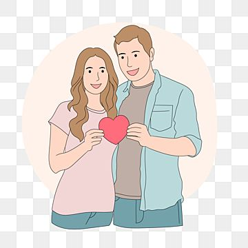 Happy Couple In Love Holding Paper Heart Love Couple Holding Png And Vector With Transparent Background For Free Download In 2021 Couples In Love Happy Couple Valentines Illustration