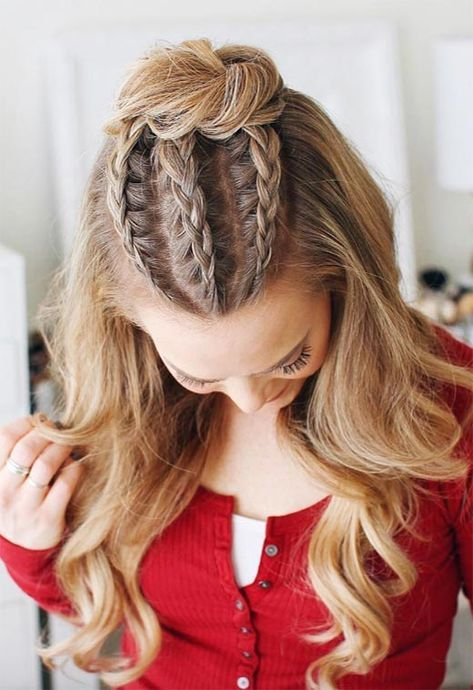 Long Hair Braids: Braided Hairstyles for Long Hair: Cornrow Braided Half-Up Bun