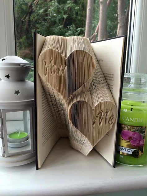 Book folding pattern for You Me in hearts by BookFoldingForever