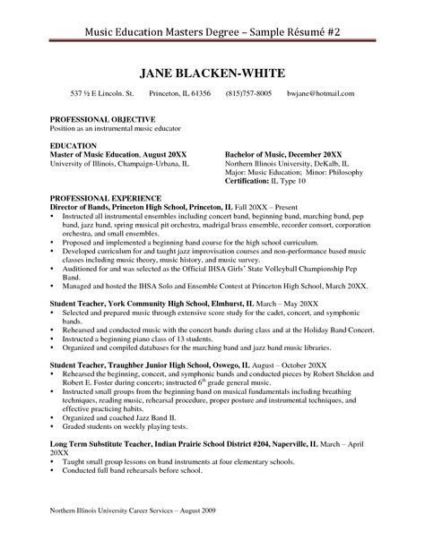 Graduate School Resume Example -    wwwresumecareerinfo - Sample Music Resume