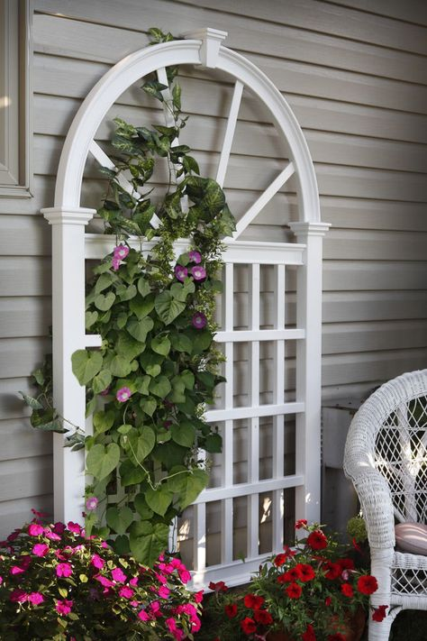 7ft Vinyl White Garden Trellis Arch Top Weather Resistant Privacy