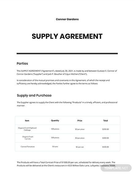 Supply Agreement Template In 2020 Word Doc Agreement Templates