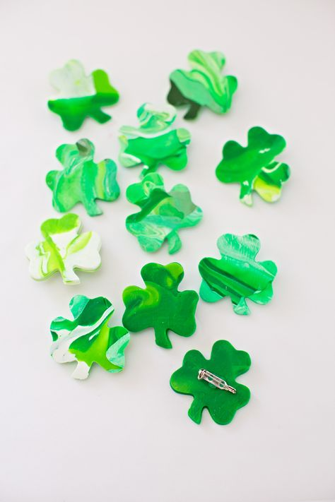 Easy Kid Made St. Patrick's Day Shamrock Pins.