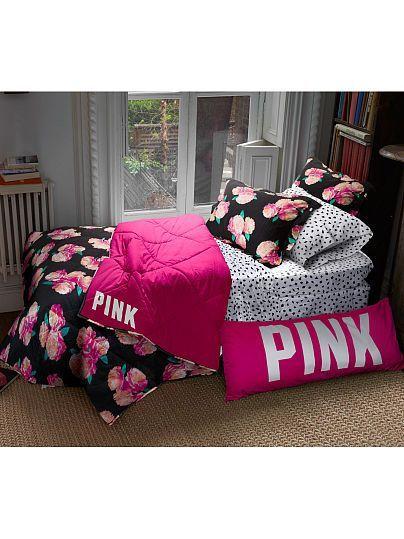 Victoria S Secret Pink Reversible Quilted Comforter In Black