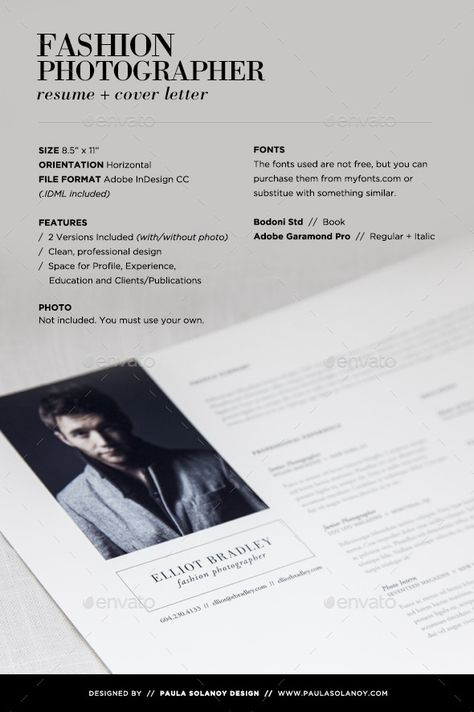Photographer Resume \ Cover Letter u2014 InDesign INDD #landscape - freelance photographer resume sample