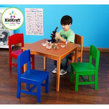 Table And Chairs Set 4 Chairs Painted In Bright Green Red Blue And