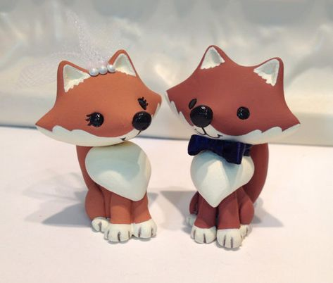 Woodland Foxes Wedding Cake Topper - Custom Cake Topper - Pick Bow Tie Color on Etsy, $105.00