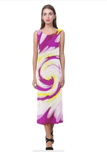 43143f71c6 Yellow and Black Waves Thea Sleeveless Skater Dress(Model D19) in 2019