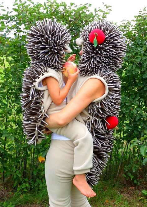 Hedgehog costume made from soft fleece and consists of pants and vest with hood. Needles is made from foam. You can choose main fabric COLOUR beige (African Pygmy Hedgehogs) or dark brown (forest hedgehog) with or without apples and mushrooms. Can be useful in carnevals, children activities