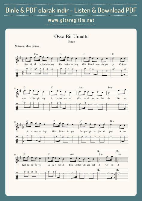 Oysa Bir Umuttu Nota Tab Gitaregitim Net Notalara Dokulmus Muzik Muzik Notalari Gitar