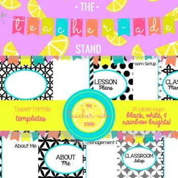 Teacher Portfolio Templates Black White Amp Amp Rainbow Brights This Template Includes A Portfolio Cov Teacher Portfolio Portfolio Templates Rainbow Bright