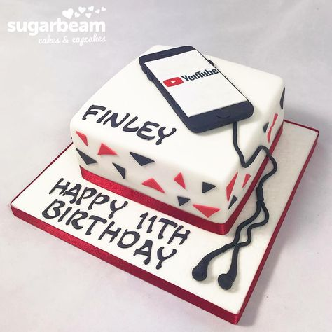 Sensational Fab Birthday Cake For The Boy Who Loves His Phone And Youtube Funny Birthday Cards Online Unhofree Goldxyz