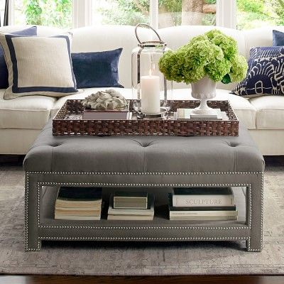 Good Octavia Tufted Ottoman, Polished Nickel, Sunbrella Performance Sail Cloth,  Sailor | Trays, Ottomans And Living Rooms