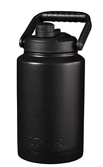 Huntr Gallon Water Bottle Vacuum Insulated Triple Wall Stainless Steel In Silver With Cleaning Brush Included Revie Gallon Water Bottle Water Bottle Bottle