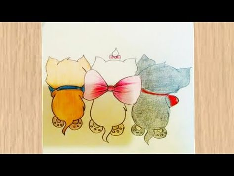 Cats Drawing How To Draw Three Cute Cats Easy رسم سهل تعليم رسم ثلاثة قطط رسم كيوت Youtube Cute Cats Drawings Cute