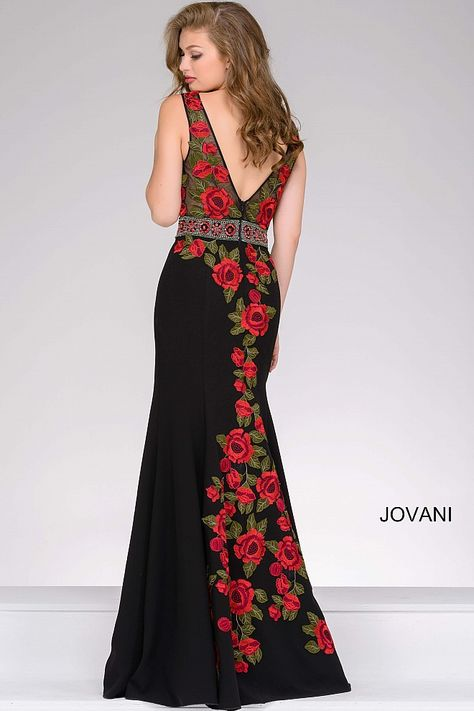 fa0231ac5d0 Black Fitted Prom Dress with Floral Embroidery 45744