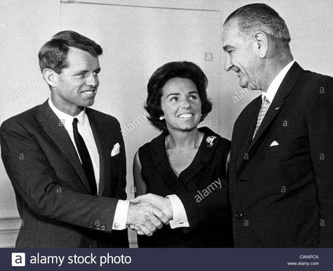 Stock Photo - Robert F. Kennedy resigning as Attorney General, Ethel Kennedy, President Lyndon B. Johnson, Washington D.C., September 3