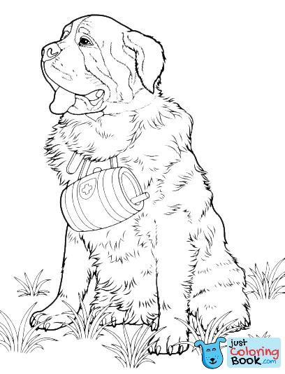 Animals St Bernard Dog Inside St Bernard Dog Coloring Pages Printable For Free Dog Coloring Book Dog Coloring Page Coloring Pages
