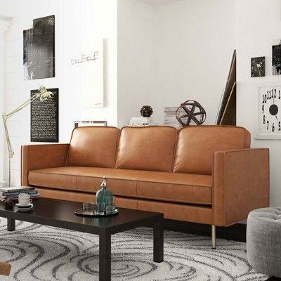 Logan Modern Faux Leather Sofa Honey Tan Af Lifestlye Faux Leather Sofa Sofas For Small Spaces Faux Leather Couch