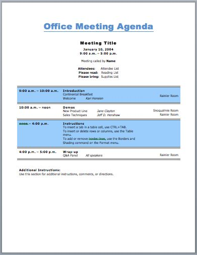 Office Meeting Agenda Template (For Business Purpose) MATTERS - sample training agenda