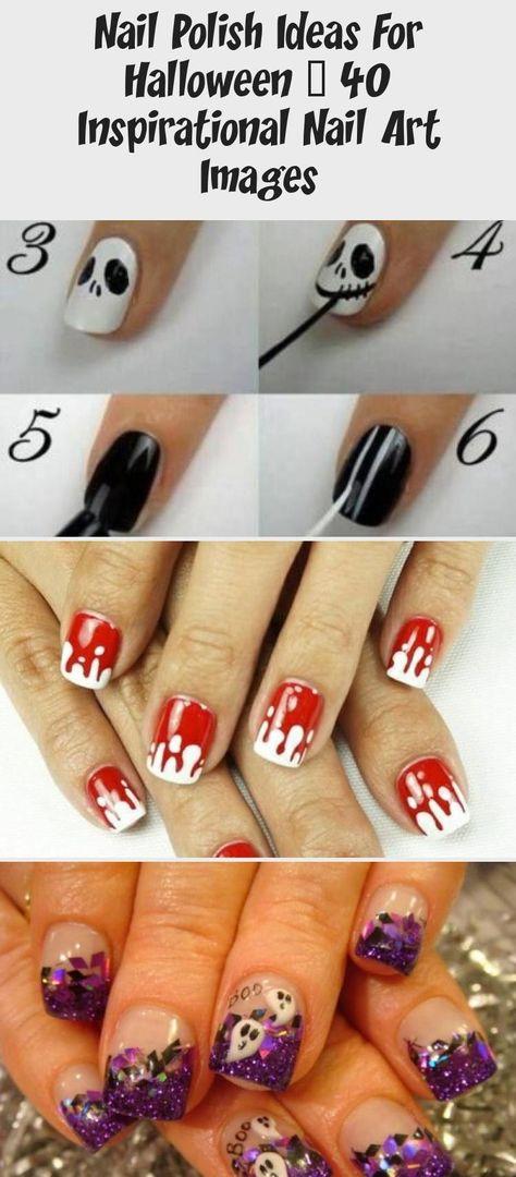 Nail polish ideas for Halloween - 40 inspirational nail art images  #halloween #ideas #images #inspirational #polish #NailArtGalleriesShape #NailArtGalleriesSimple #NailArtGalleriesBeauty #NailArtGalleriesHotPink #NailArtGalleriesSilverGlitter