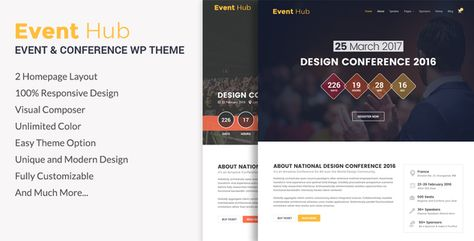 Event Hub- Event, Conference WordPress Theme - ThemeKeeper.com