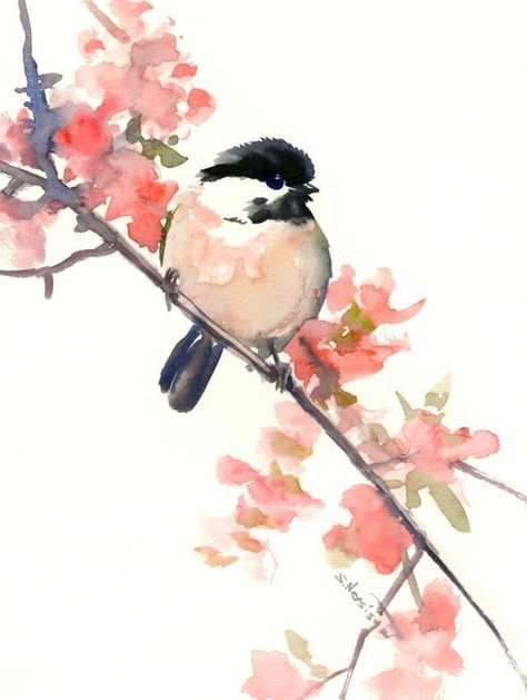 watercolor art, Chickadee, one of a kind watercolor painting
