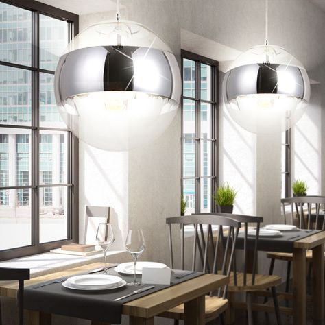 Luxus 2er Set Hänge Pendel Leuchten Glas Kugel Schlafzimmer ...