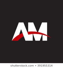 Am Initial Overlapping Swoosh Letter Logo White Red Black
