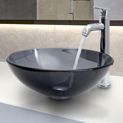 VIGO Sheer Black Glass Vessel Sink and