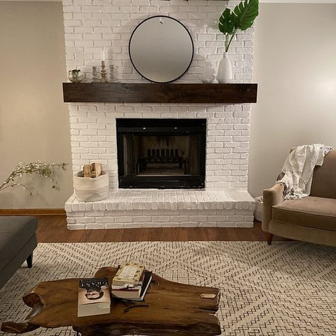 Brick Fireplace Remodel, Brick Fireplace Mantles, White Wash Brick Fireplace, Floating Fireplace, Brick Hearth, Painted Brick Fireplaces, Basement Fireplace, Brick Fireplace Makeover, Wood Mantels
